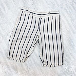 LOFT Linen Nautical Stripe Bermuda Shorts Size 4